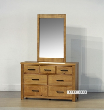 Picture of VINCENT 7Drawer Dressing Table + Mirror *Solid NZ Pine
