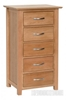 Picture of NEWLAND Solid Oak 5 Drawer Wellington / Slim Boy