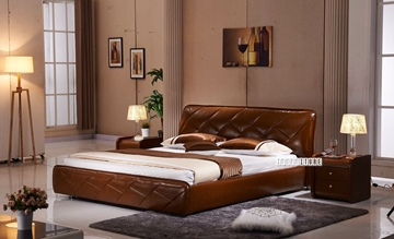 Picture of LAVELLO Genuine Italian Leather Bed in QUEEN/KING