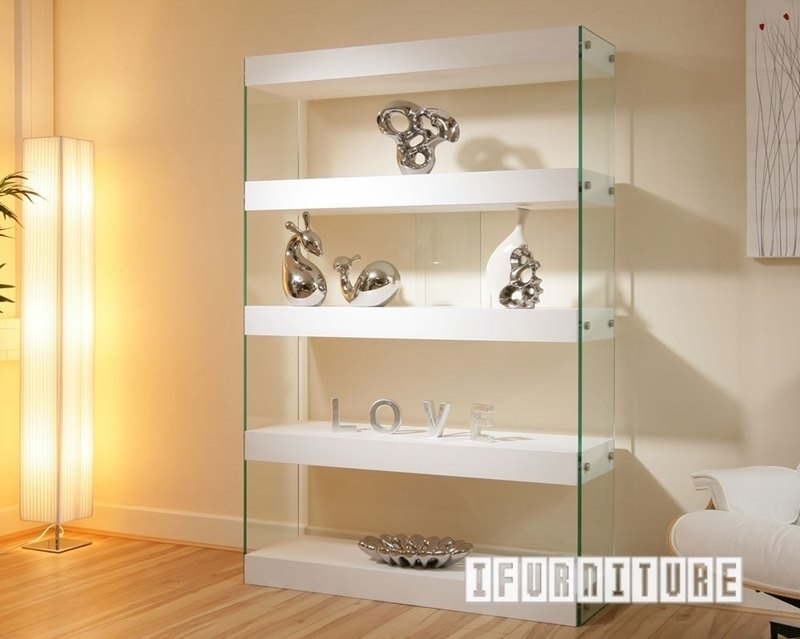 Picture of LENZO Glass Display Shelf in White Gloss