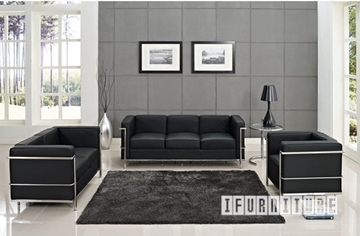 Picture of Le Corbusier LC2 Replica 1+2+3 Sofa Range *100% Italian Leather Black/ Tan