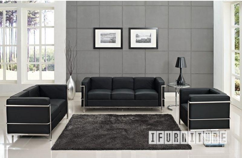 Picture of Le Corbusier LC2 Replica 1+2+3 Sofa Range *100% Italian Leather Black/ Tan