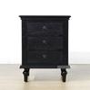 Picture of CAROLINE Ash Veneer 3 Drawer Bedside Table *Black