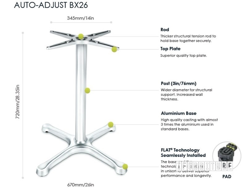 Picture of BX26 FLATTECH Auto Adjust Table Base