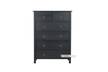 Picture of Metro Solid Pine 6 drawer Tallboy Black