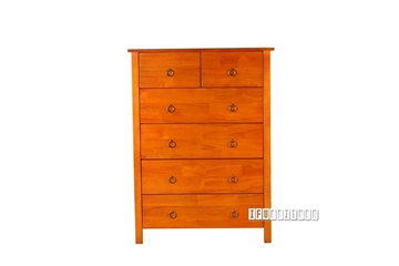 Picture of Metro Solid Pine 6 drawer Tallboy Honey