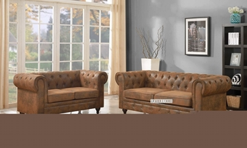 Picture of CHAPLIN LOVESEAT *brown-toned air leather