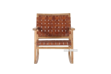 Picture of ROCKY Solid Teak Rocking ArmChair *Genuine Cowhide