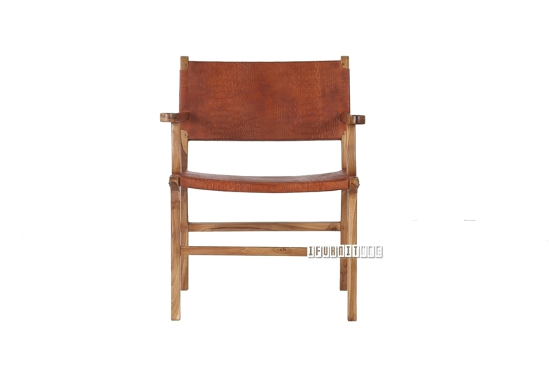 Picture of NANCY Solid Teak Chair *Genuine Cowhide