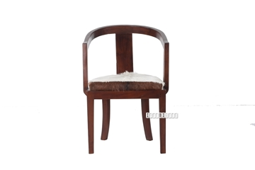 Picture of VASCO Solid Teak ArmChair *Genuine Goathide