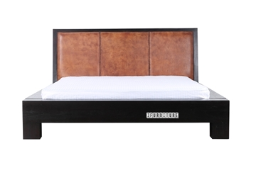 Picture of TANZANIA Solid Teak Bed in Queen/king *Genuine Cowhide