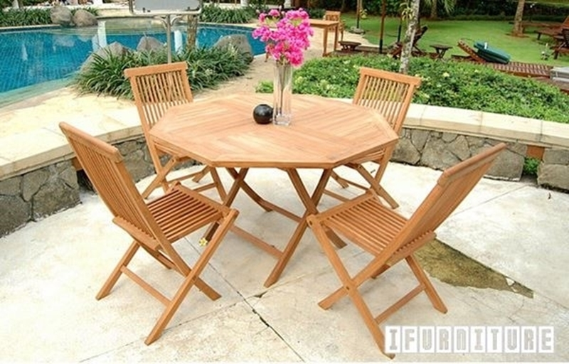 Bali Solid Teak 5pcs Table Set With Umbrella Hole Model 037 Ifurniture The Largest Furniture Store In Edmonton Carry Bedroom Furniture Living Room Furniture Sofa Couch Lounge Suite Dining Table And Chairs And Patio Furniture