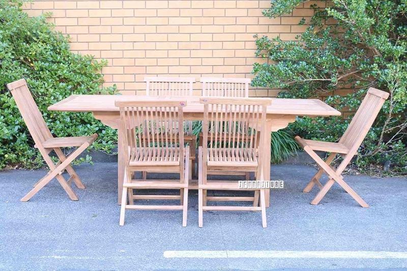 Picture of BALI SOLID TEAK  160/210 7PC EXTENSION DINING SET MODEL 010