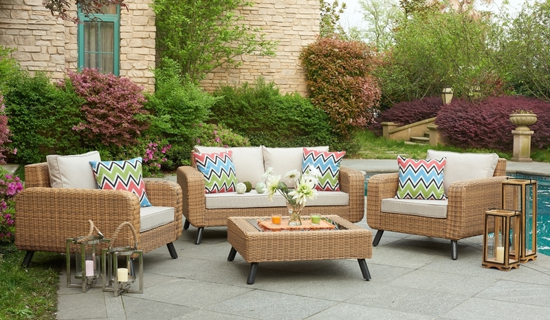 Picture of KINSALE 4PCS SOFA SET WITH COFFEE TABLE* ALUMINUM FRAME