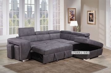 Picture of POSITANO SECTIONAL SOFA/ SOFA BED WITH STORAGE & TWO OTTOMANS (Taupe & Mushroom color)