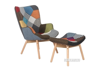 Picture of TARTAN PATCHWORK  ARM CHAIR + OTTOMAN