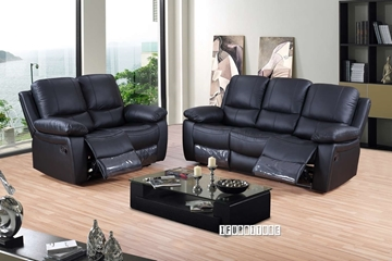 Picture of ABINGTON  1+2+3 Genuine Leather Reclining sofa Range *black
