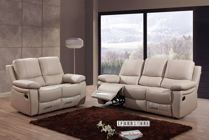 Picture of ABINGTON 1+2+3 Genuine Leather Reclining sofa Range *Beige