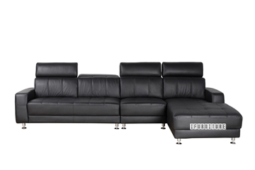 Picture of CASABLANCA GENUINE LEATHER SECTIONAL SOFA *BLACK