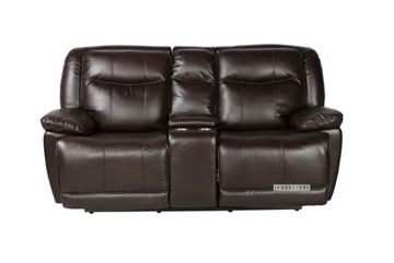 Picture of KANSAS ELECTRICAL POWER RECLINING LOVESEAT WITH CONSOLE *LEATHER GEL -CHARCOLA
