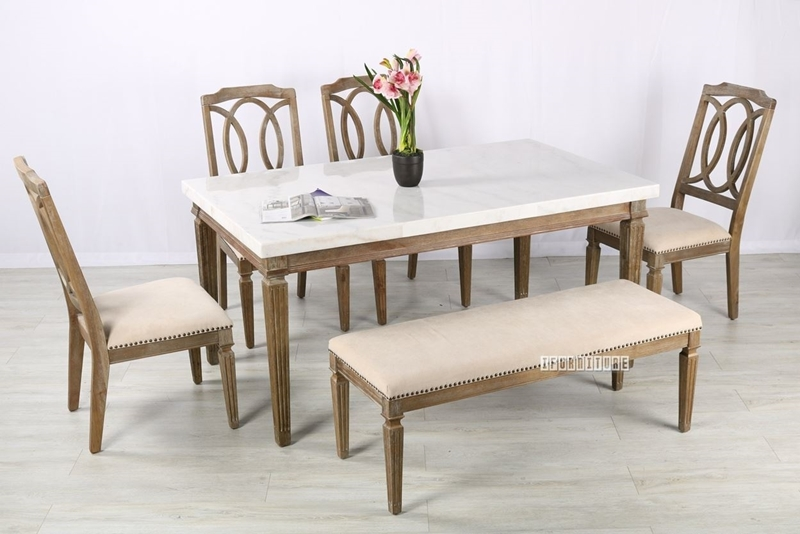 Picture of IMPERIAL DINING SET *SOLID WHITE WASH TIMBER