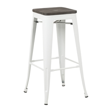 Picture of TOLIX Replica Bar Stool  Rustic Elm Seat *White