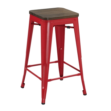 Picture of TOLIX Replica Bar Stool  Rustic Elm Seat *Red