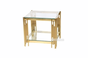 Picture of LELLA SQUARE CLEAR GLASS End TABLE * GOLD