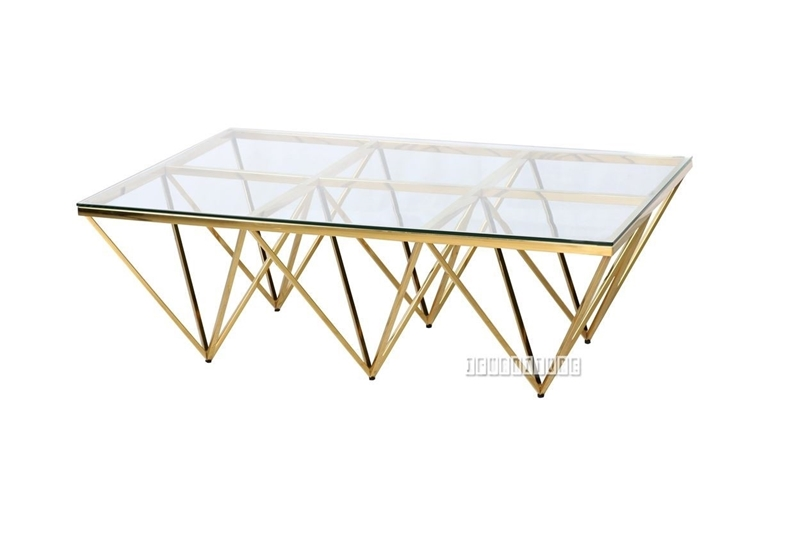 Picture of LELLA RECTANGLE CLEAR GLASS COFFEE TABLE * ANGULAR SHAPED GOLD