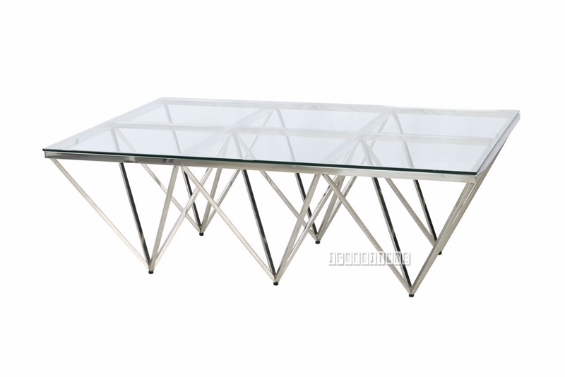 Picture of LELLA RECTANGLE CLEAR GLASS COFFEE TABLE * ANGULAR SHAPED SILVER