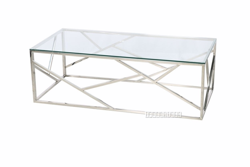 Picture of LELLA RECTANGLE CLEAR GLASS COFFEE TABLE *SILVER