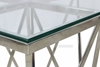 Picture of LELLA SQUARE CLEAR GLASS SIDE TABLE * ANGULAR SHAPED SILVER