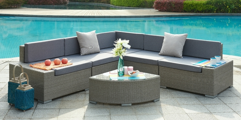 Picture of VALENCIA Aluminum Frame Sectional outdoor Sofa set *With Quarter Round Coffee Table