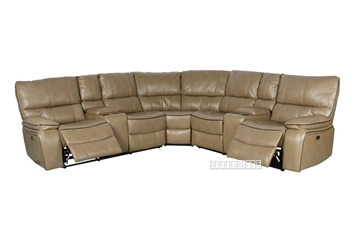 Picture of ARTHUR LeatherGel Sectional Power Recliner *SandStone