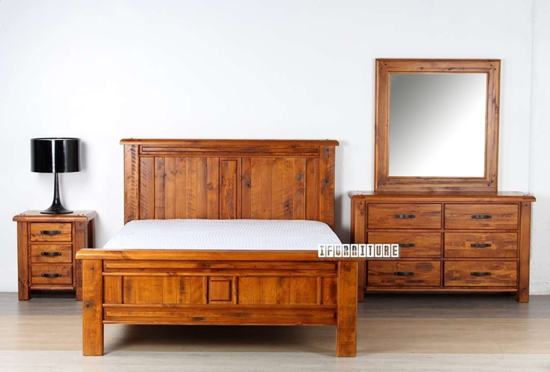 Picture of FOUNDATION RUSTIC PINE BEDROOM COMBO IN QUEEN/ KING / KING SIZE