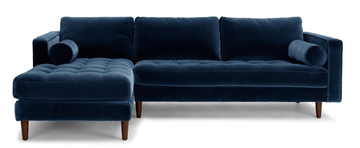 Picture of FAVERSHAM SECTIONAL SOFA IN DEEP BLUE* VELVET
