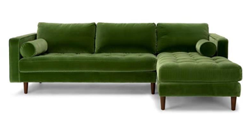 Picture of FAVERSHAM SECTIONAL SOFA IN GREEN* VELVET