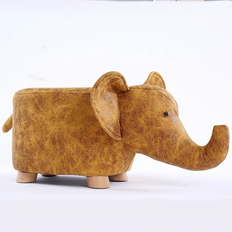 Picture of Hardwood yellow elephant Ottoman