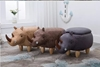 Picture of BIG Hardwood YELLOW RHINOCEROS Ottoman