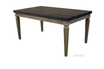 Picture of IMPERIAL 163 DINING TABLE * REAL BLACK MARBLETOP/SOLID WHITE WASH TIMBER IN