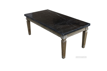 Picture of IMPERIAL COFFEE TABLE * REAL BLACK MARBLE TOP/WHITE WASH TIMBER