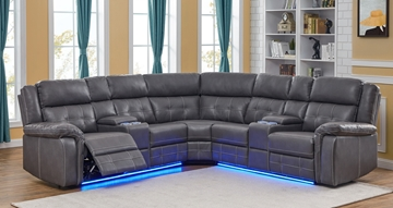 Picture of COBALT POWER/MANUAL RECLINING SECTIONAL SOFA WITH LED LIGHTS *ELEPHANT GREY