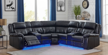 Picture of COBALT POWER/MANUAL RECLINING SECTIONAL SOFA WITH LED LIGHTS *BLACK