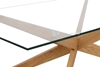 Picture of PARIS CROSS LEGS RECTANGULAR GLASS COFFEE TABLE *SOLID OAK LEGS