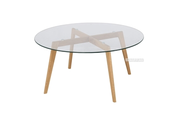 Picture of PARIS ROUND GLASS COFFEE TABLE *SOLID OAK LEGS