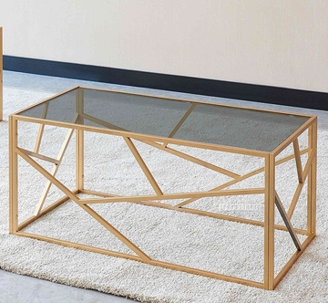 Picture of CLIO RECTANGLE CLEAR GLASS COFFEE TABLE *GOLD