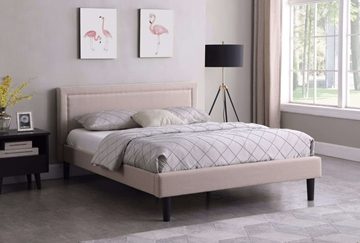 Picture of JOYANCE PLATFORM BED FRAME IN DOUBLE/ QUEEN SIZE in BEIGE FABRIC