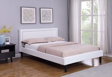 Picture of JOYANCE PLATFORM BED FRAME IN DOUBLE/ QUEEN SIZE in WHITE PU