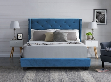 Picture of Ely Upholstered Platform Bed in queen/king  in Blue Velvet