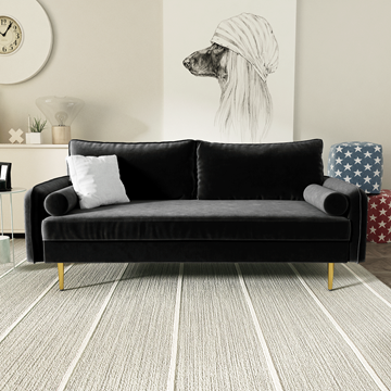 Picture of MARYJANET VELVET SOFA RANGE IN BLACK